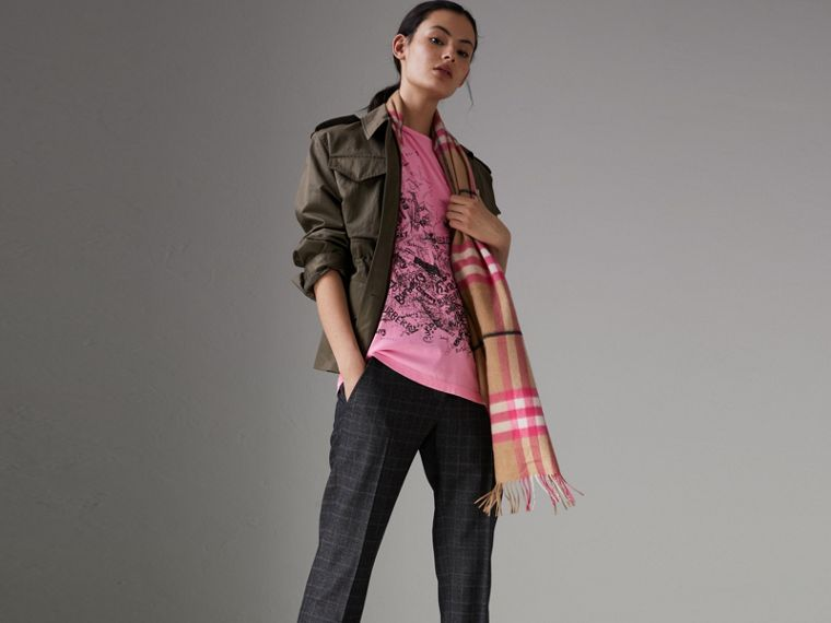 Doodle Print Cotton T-shirt in Bright Rose Pink - Women | Burberry - cell image 4
