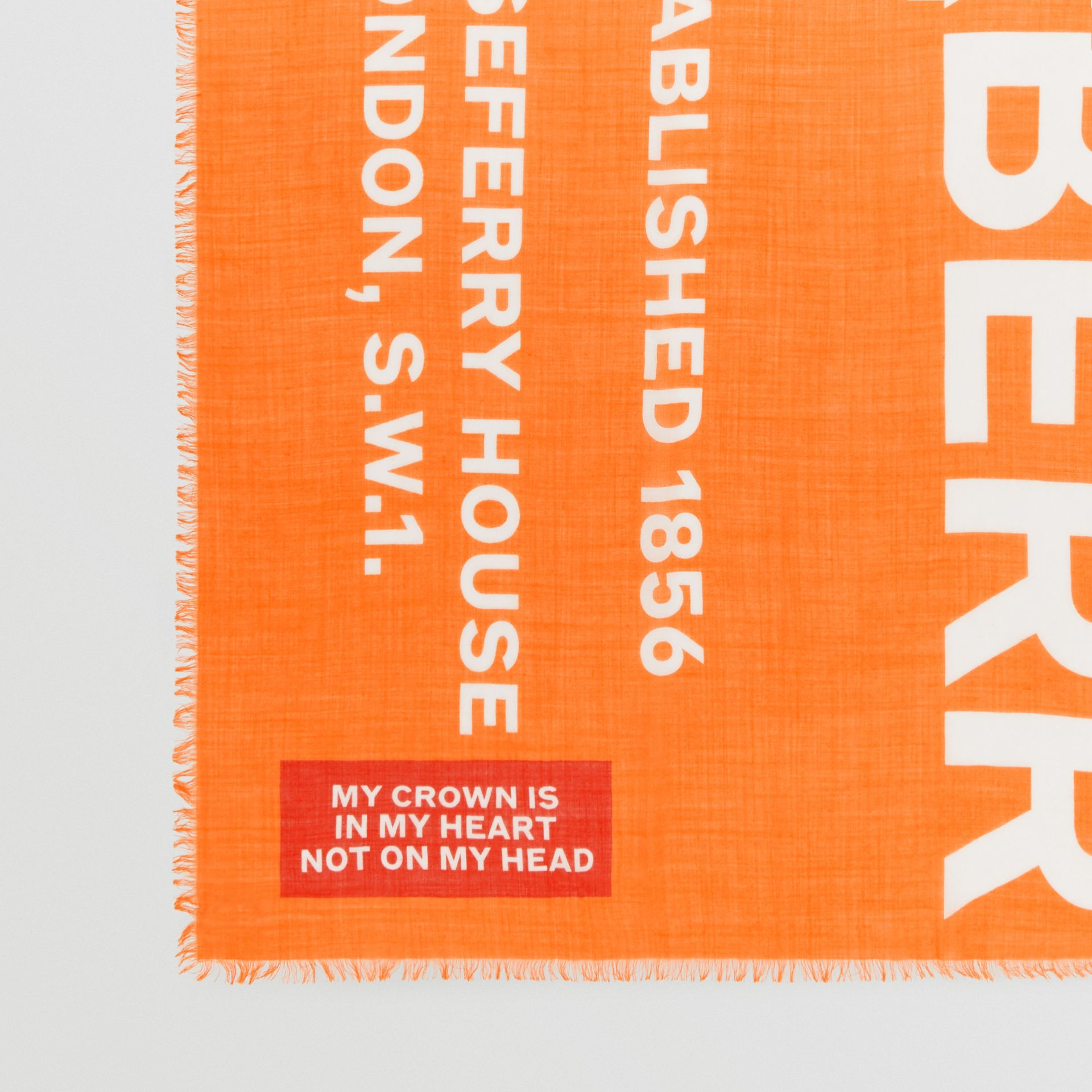 Horseferry Print Lightweight Wool Silk Scarf in Bright Orange | Burberry United States - gallery image 1