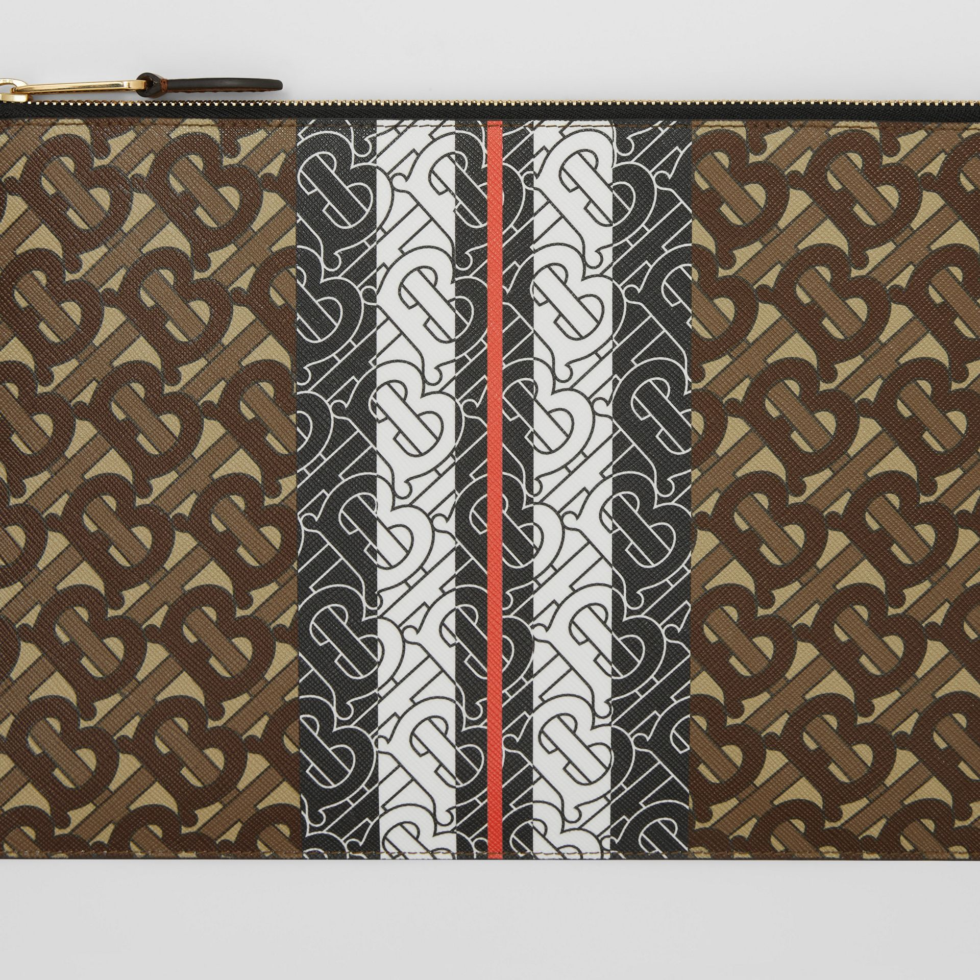 Monogram Stripe E-canvas Zip Pouch in Bridle Brown | Burberry - gallery image 10