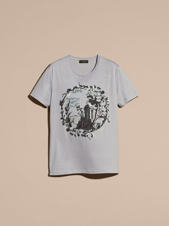 Dusty mint Wallpaper Print Cotton T-Shirt - cell image 3