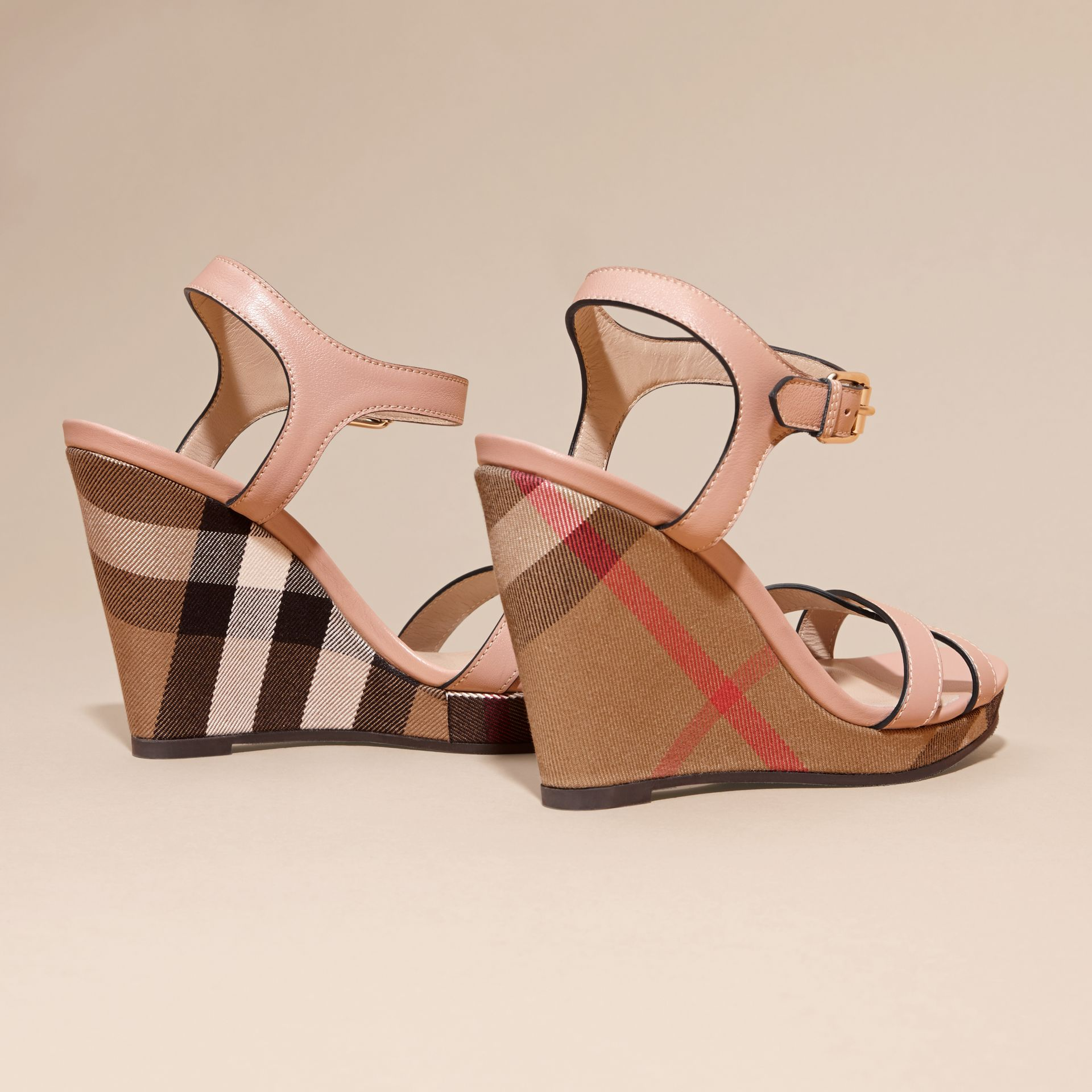 Nude blush House Check Detail Leather Wedge Sandals - gallery image 4