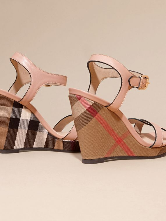 House Check Detail Leather Wedge Sandals in Nude Blush - Women | Burberry - cell image 3
