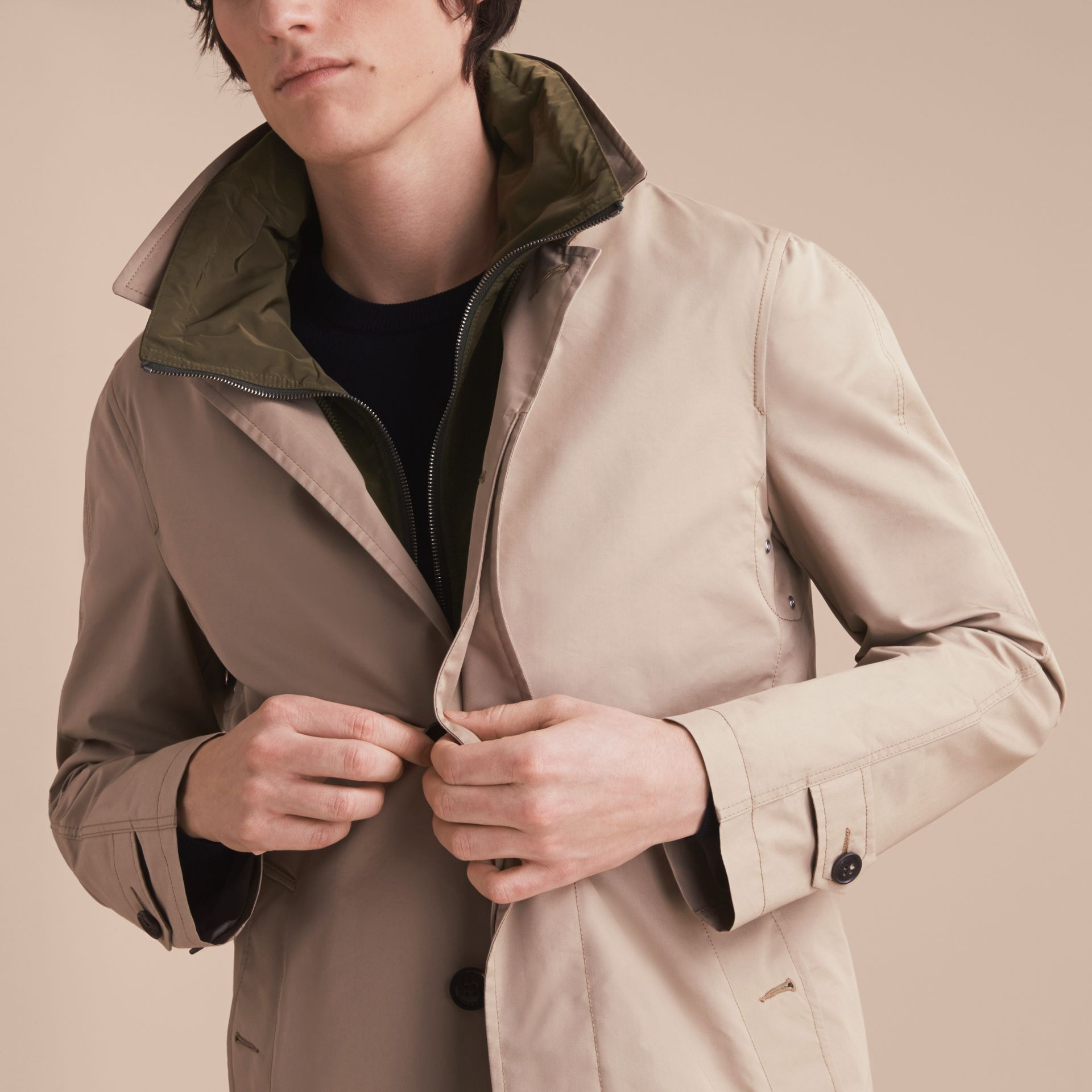 Lightweight Cotton Car Coat with Detachable Gilet Stone - gallery image 5