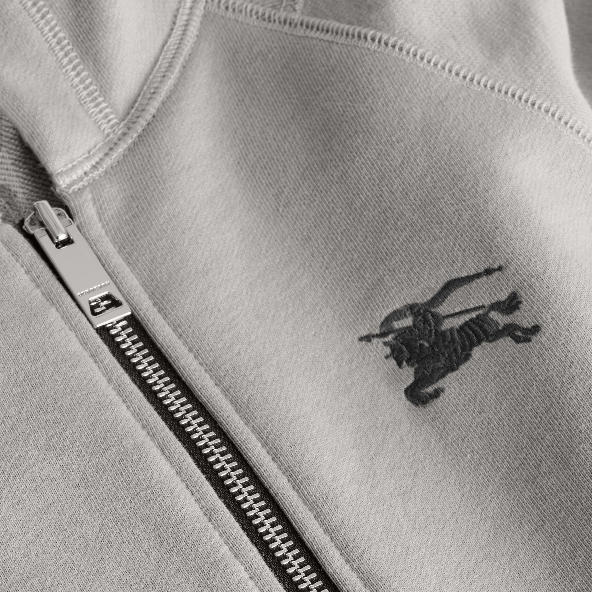 Cotton Jersey Hooded Top in Chalk Grey Melange | Burberry Australia - gallery image 1