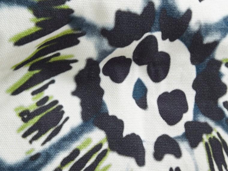 Deep cerulean blue Floral Tie-dye Cotton Cushion Cover Deep Cerulean Blue - cell image 1