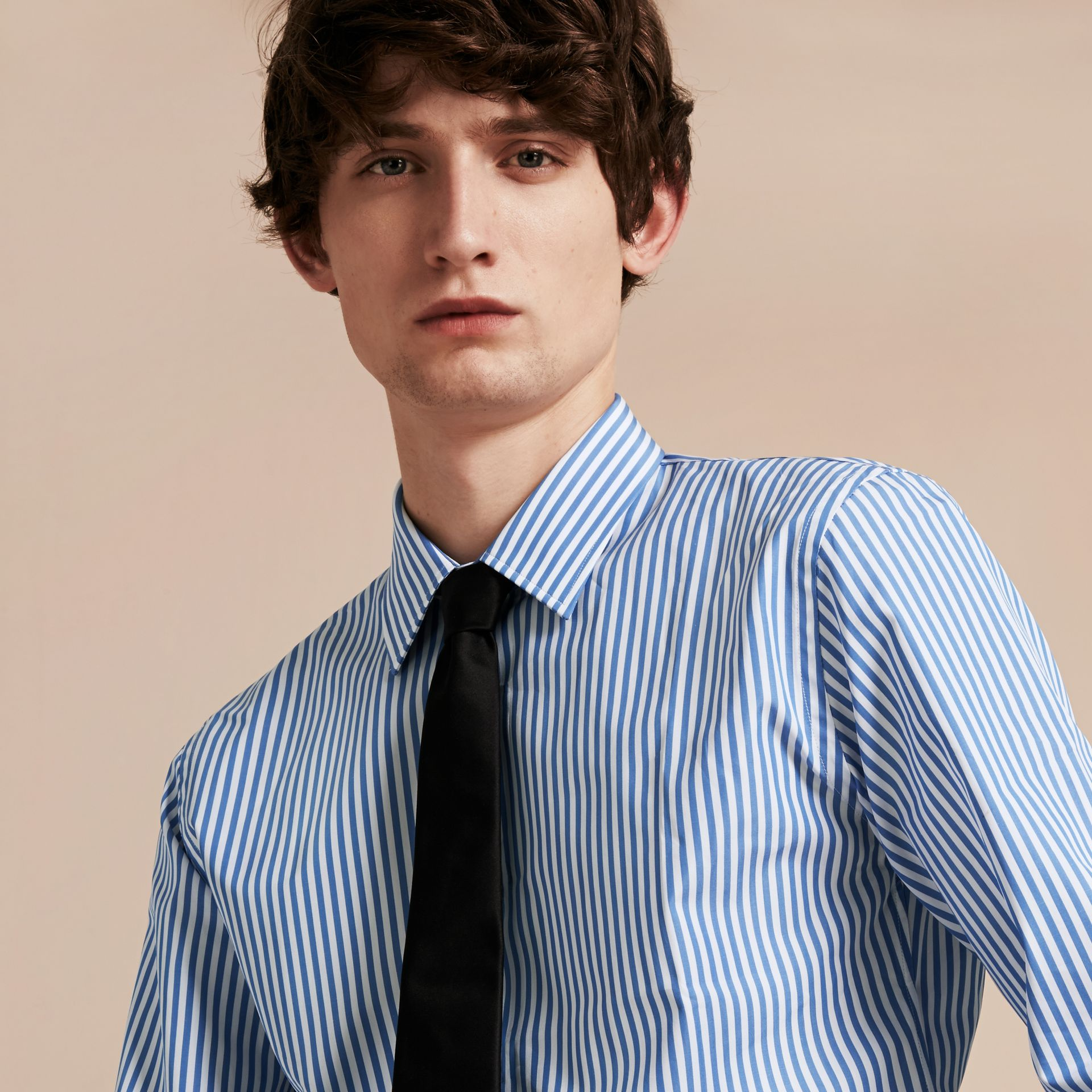 Mid blue Slim Fit Striped Cotton Poplin Shirt Mid Blue - gallery image 5