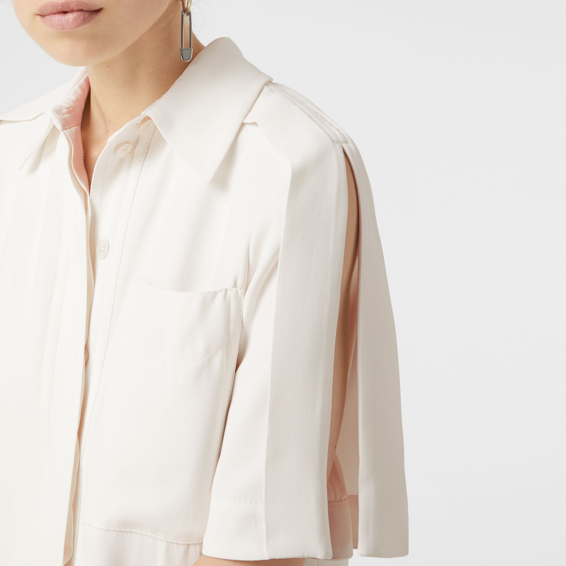 Split Detail Silk Wool Shirt Dress in Off White - Women | Burberry - gallery image 1