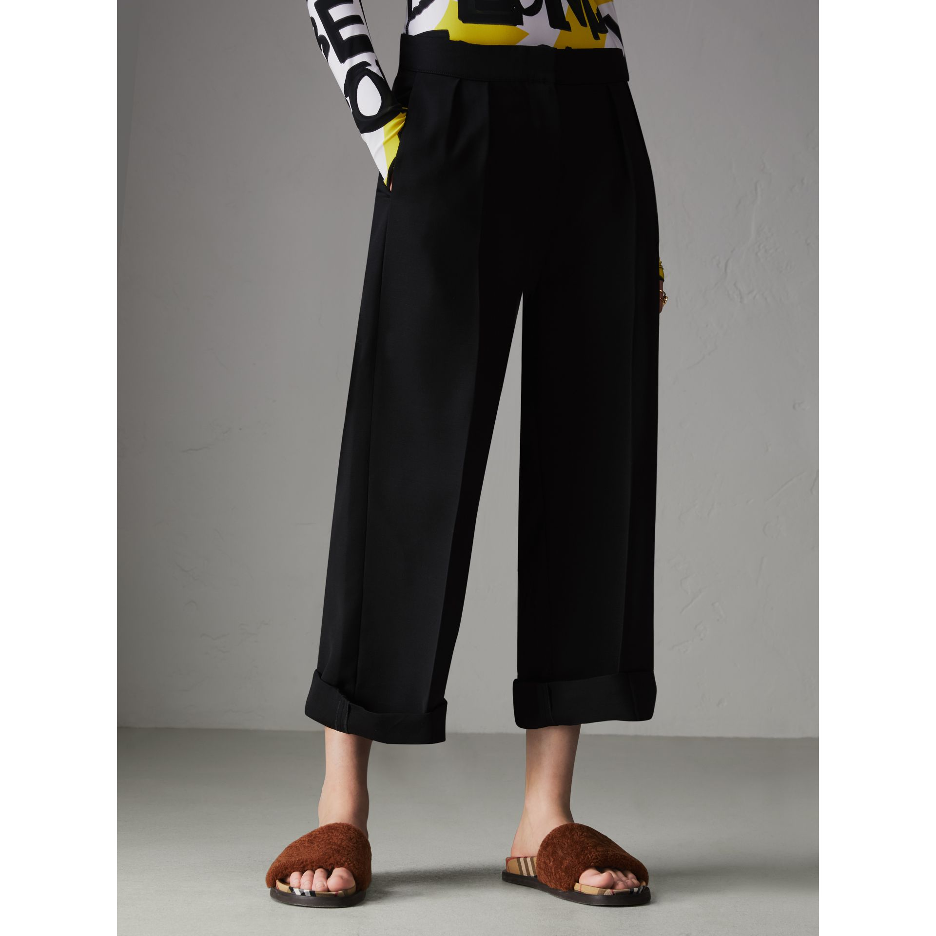 Wool Silk Cropped Tailored Trousers in Black - Women | Burberry United Kingdom - gallery image 4