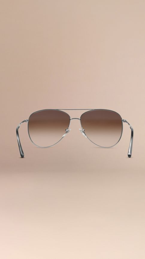 Nickel Check Arm Aviator Sunglasses Nickel - Image 3