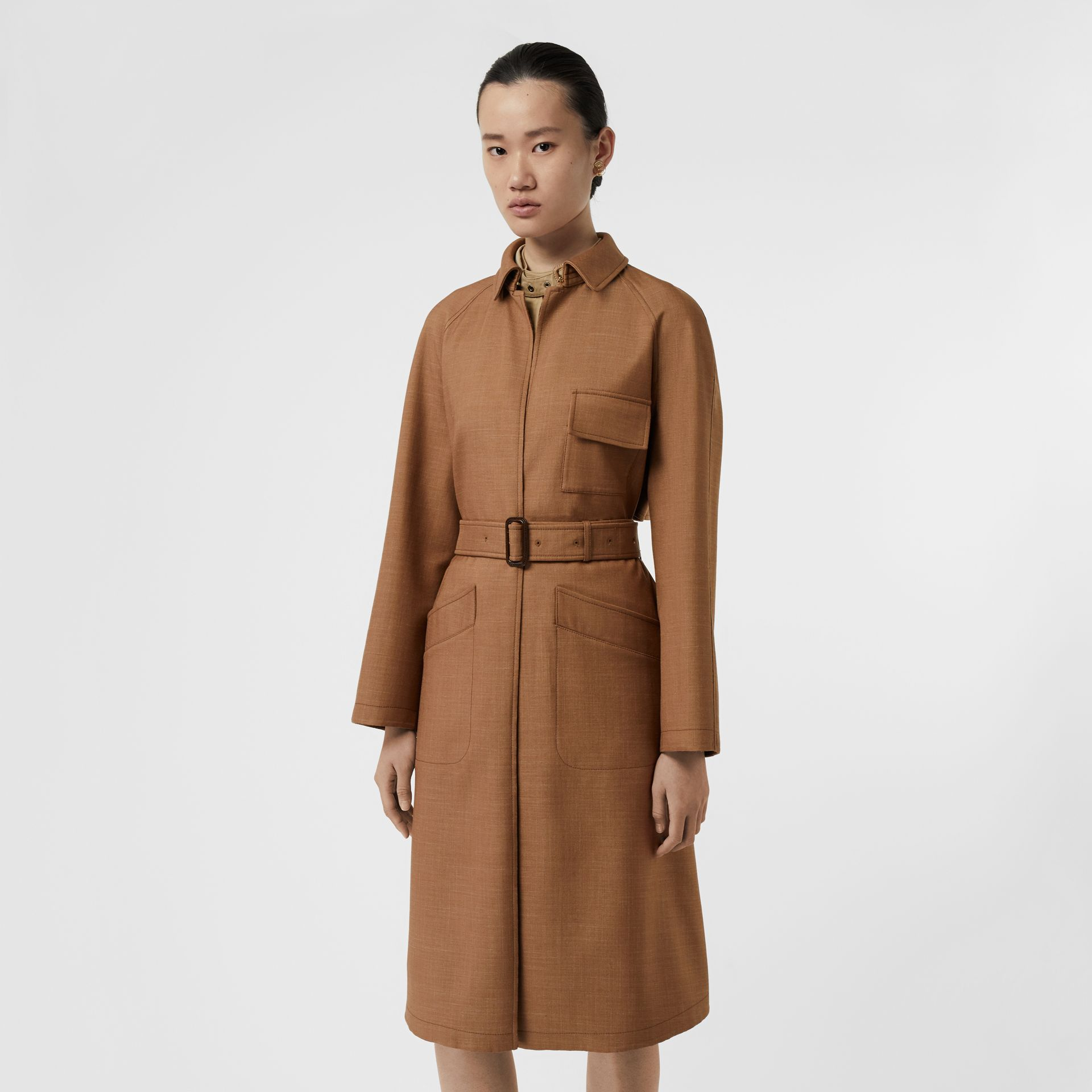 Bonded Wool Silk Mohair Linen Car Coat in Bronze - Women | Burberry Australia - gallery image 0