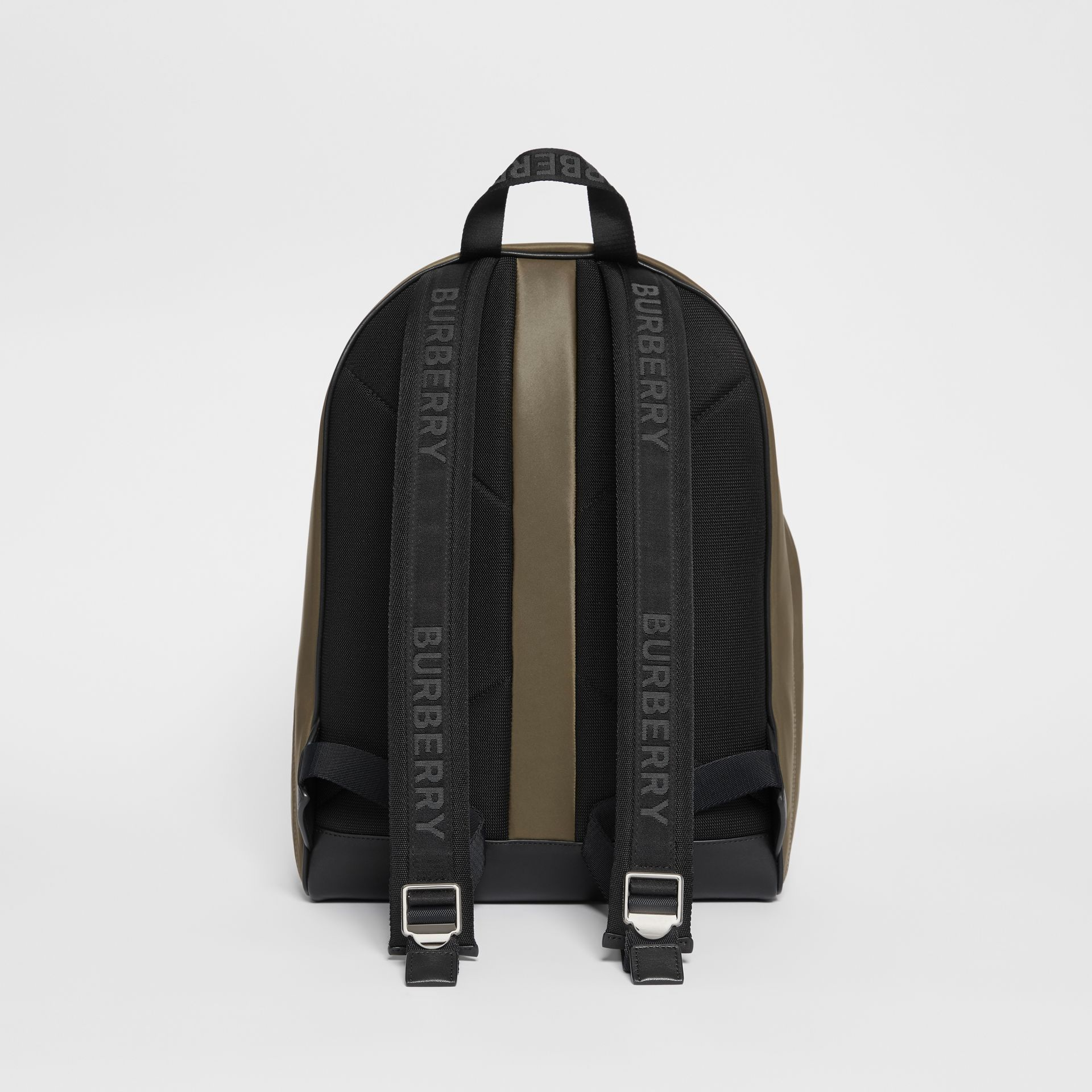 Logo Print Nylon Backpack in Canvas Green - Men | Burberry - gallery image 4