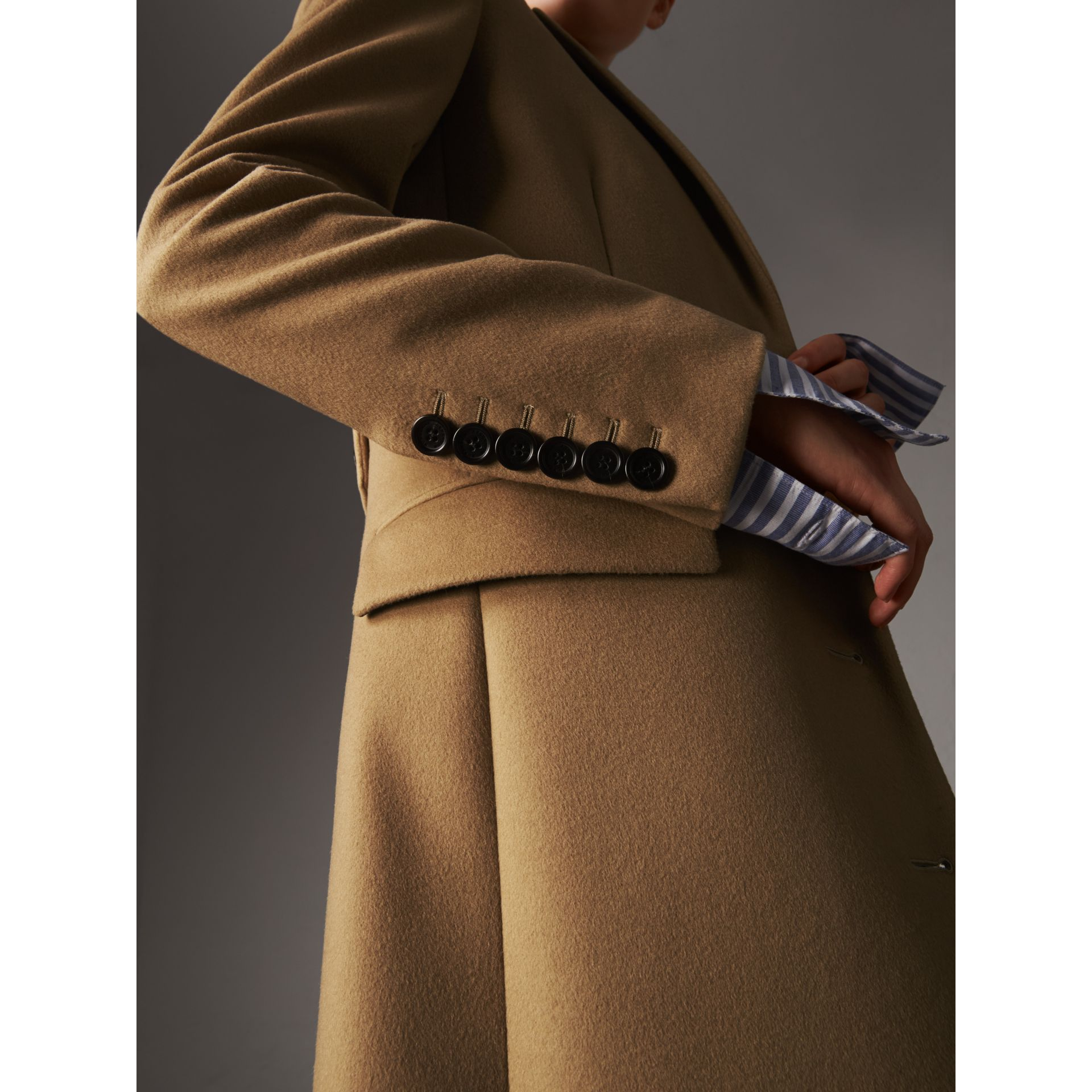 Wool Cashmere Tailored Coat in Camel - Women | Burberry Singapore - gallery image 2