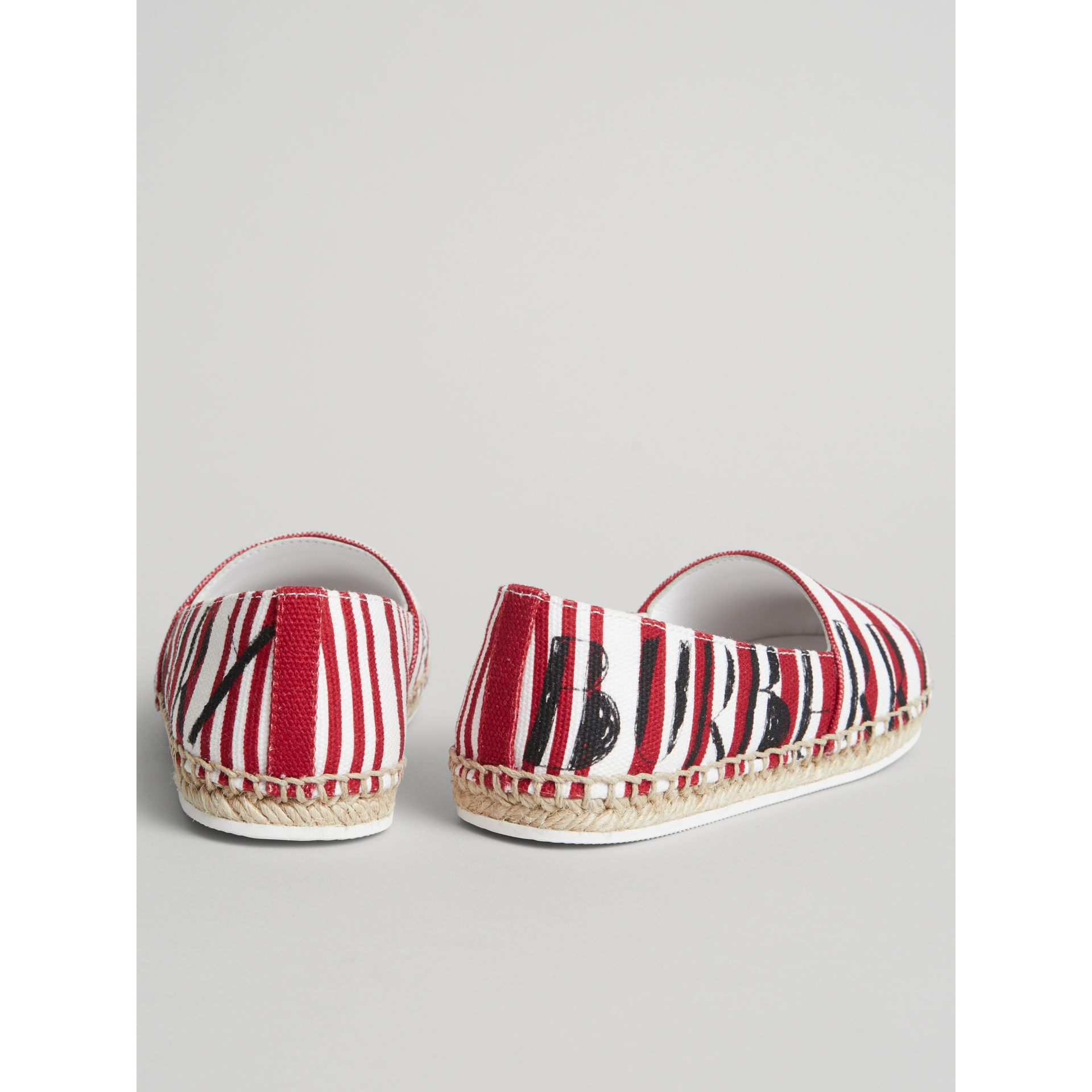 SW1 Print Striped Cotton Espadrilles in Bright Red | Burberry Australia - gallery image 2