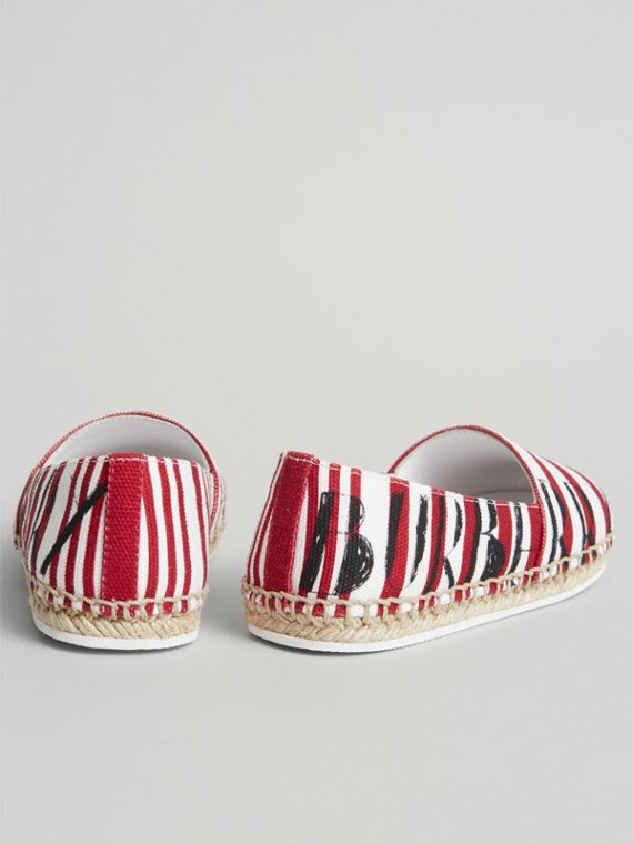 SW1 Print Striped Cotton Espadrilles in Bright Red | Burberry Australia - cell image 2
