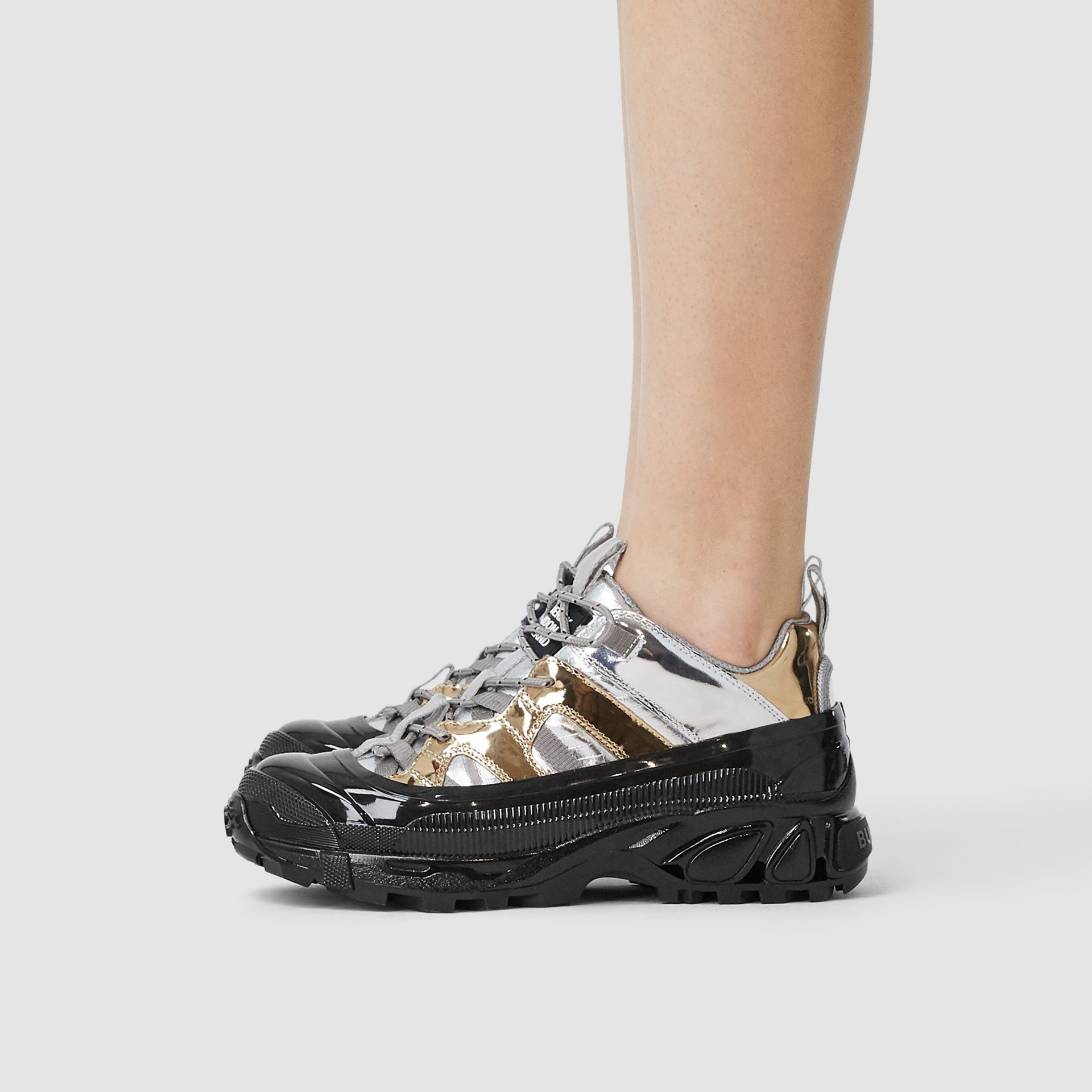 Two-tone Metallic Leather Arthur Sneakers in Silver/gold - Women   Burberry - gallery image 2