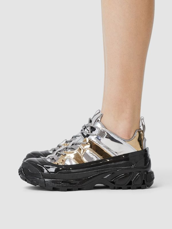 Two-tone Metallic Leather Arthur Sneakers in Silver/gold - Women | Burberry - cell image 2