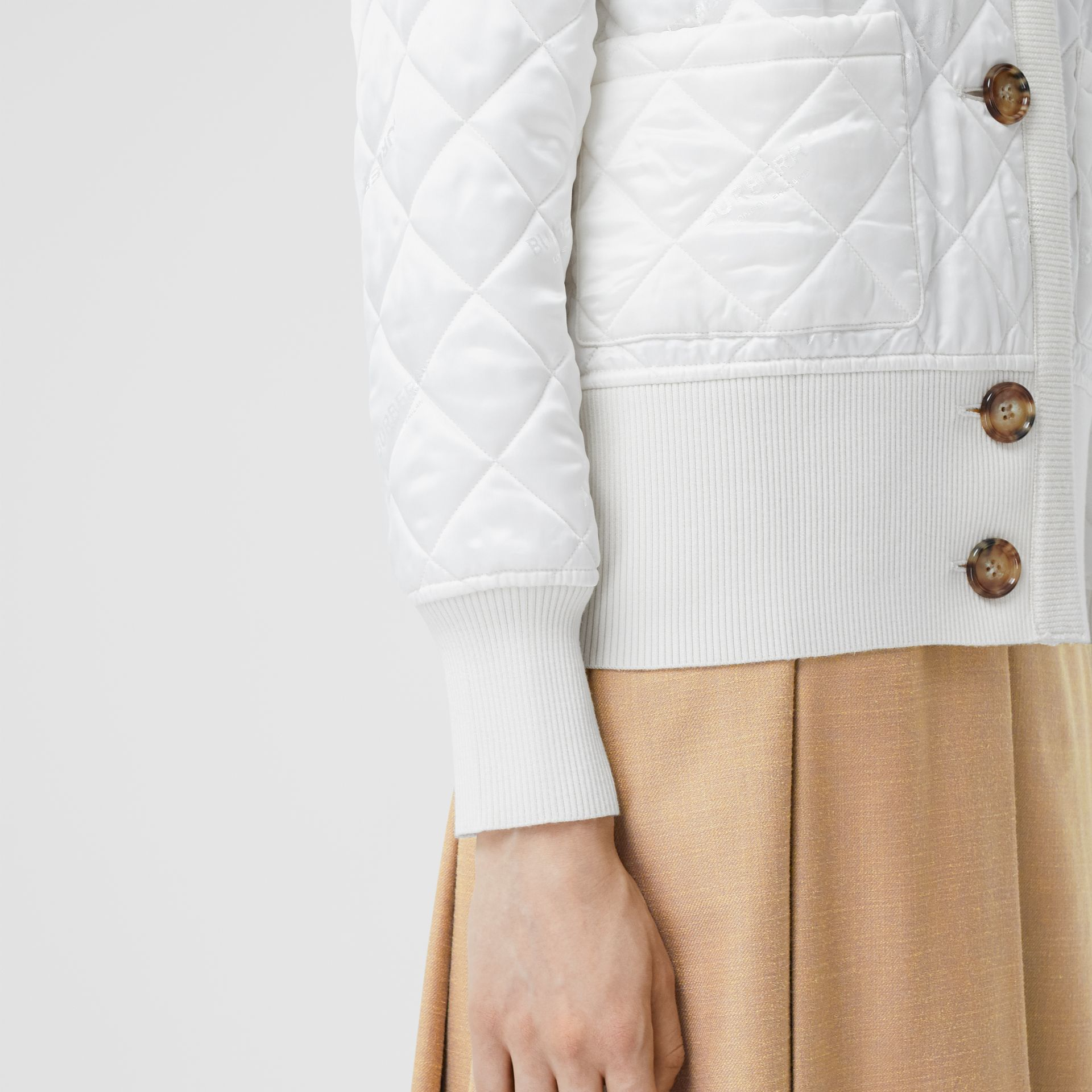Logo Jacquard Diamond Quilted and Wool Blend Jacket in White - Women | Burberry - gallery image 4