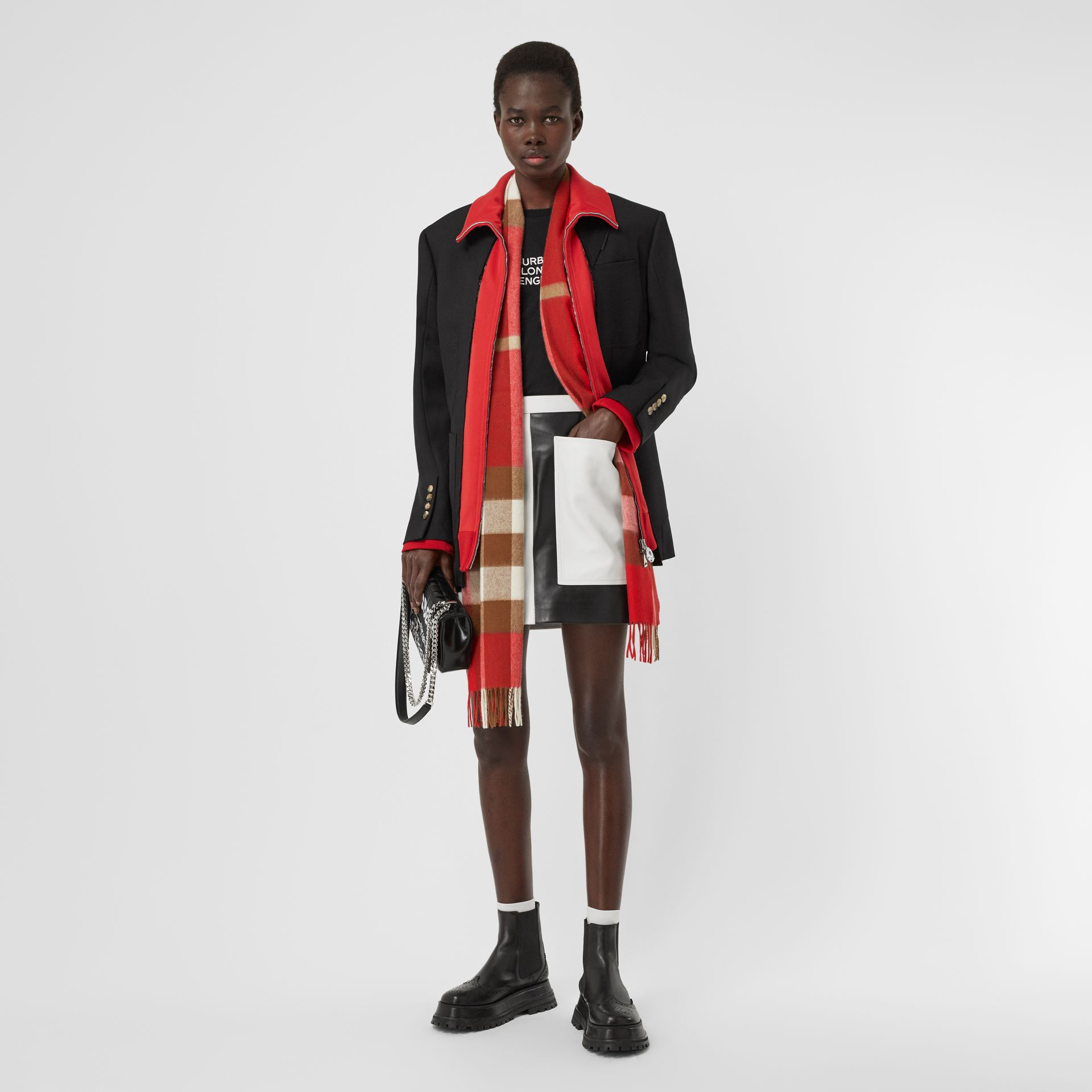 Check Cashmere Scarf in Bright Red | Burberry - gallery image 5