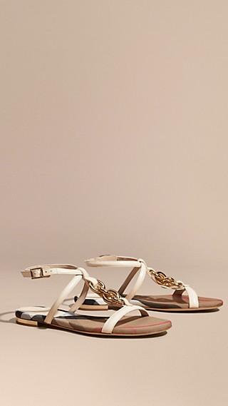 Chain Detail Leather Sandals Cream