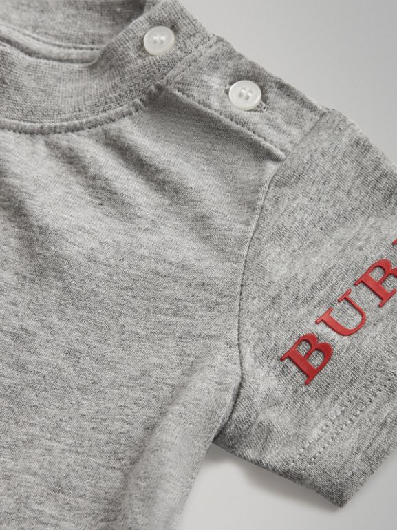 Logo Print Cotton T-shirt in Grey Melange - Children | Burberry - cell image 1