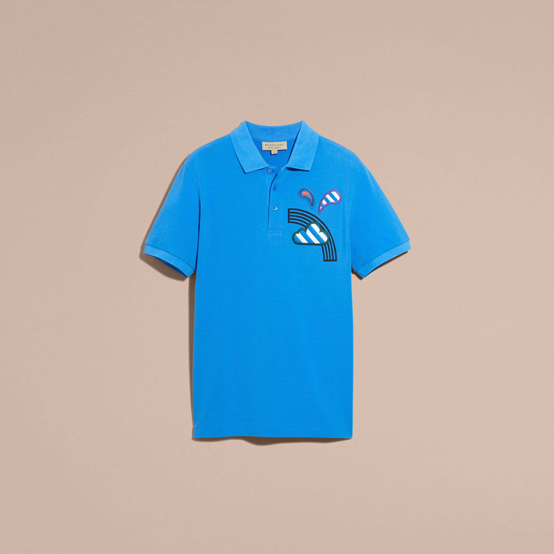 Weather Appliqué Cotton Piqué Polo Shirt Chalk Blue - gallery image 4