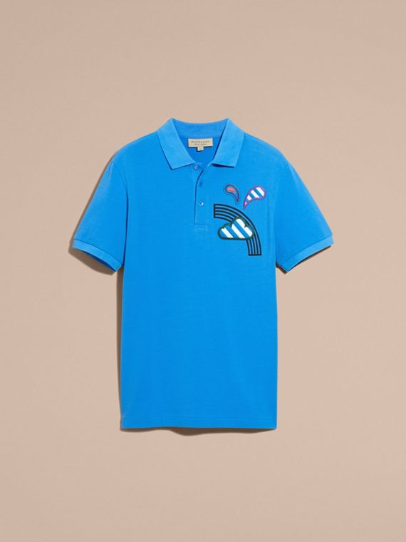 Weather Appliqué Cotton Piqué Polo Shirt Chalk Blue - cell image 3