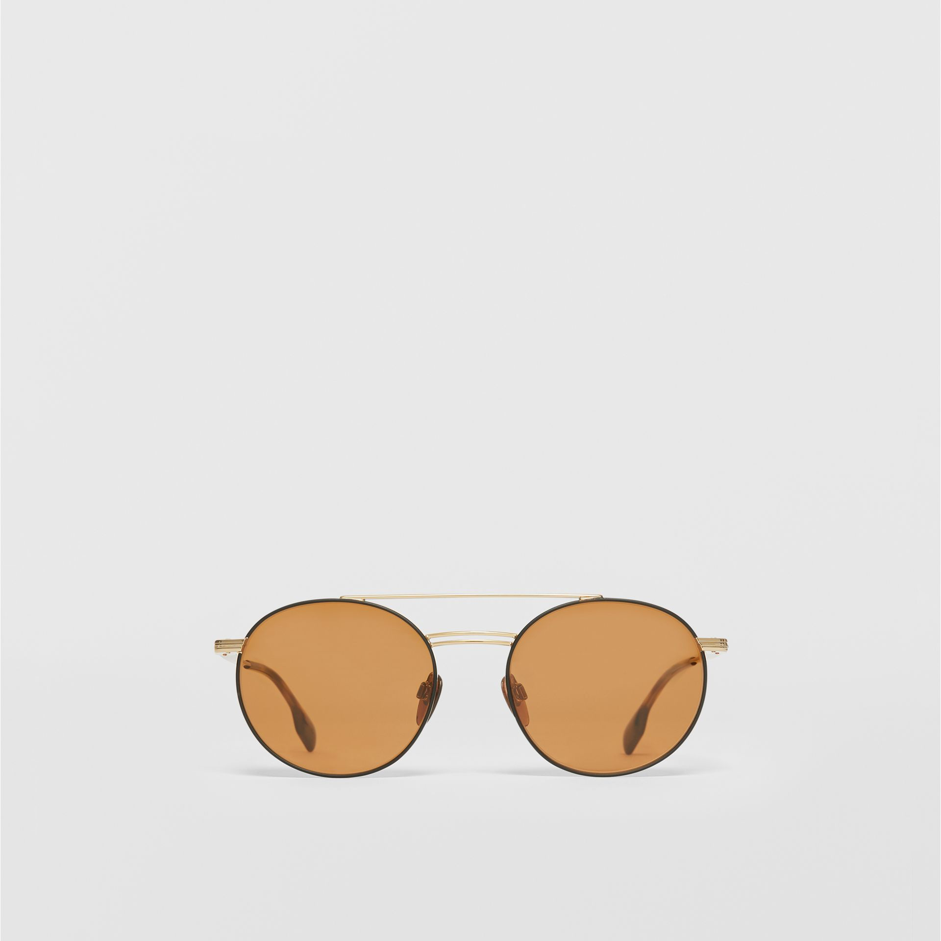 Top Bar Detail Round Frame Sunglasses in Tortoiseshell - Men | Burberry - gallery image 0