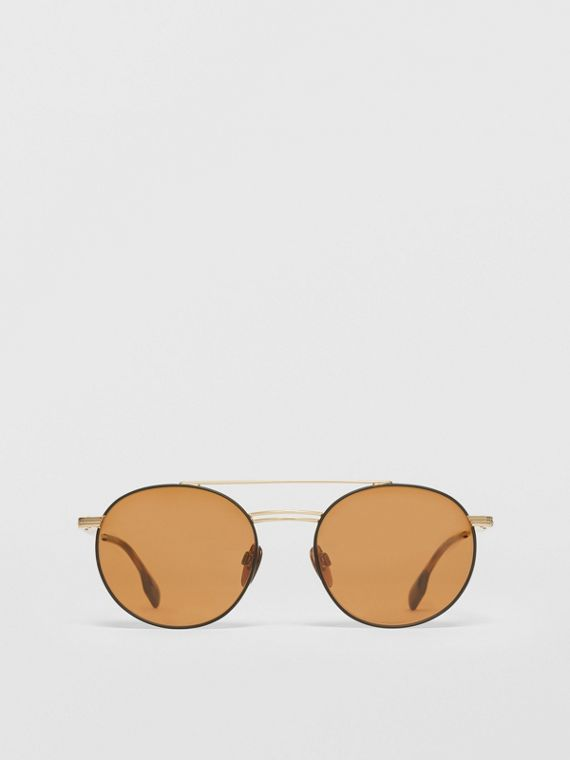 Top Bar Detail Round Frame Sunglasses in Tortoiseshell