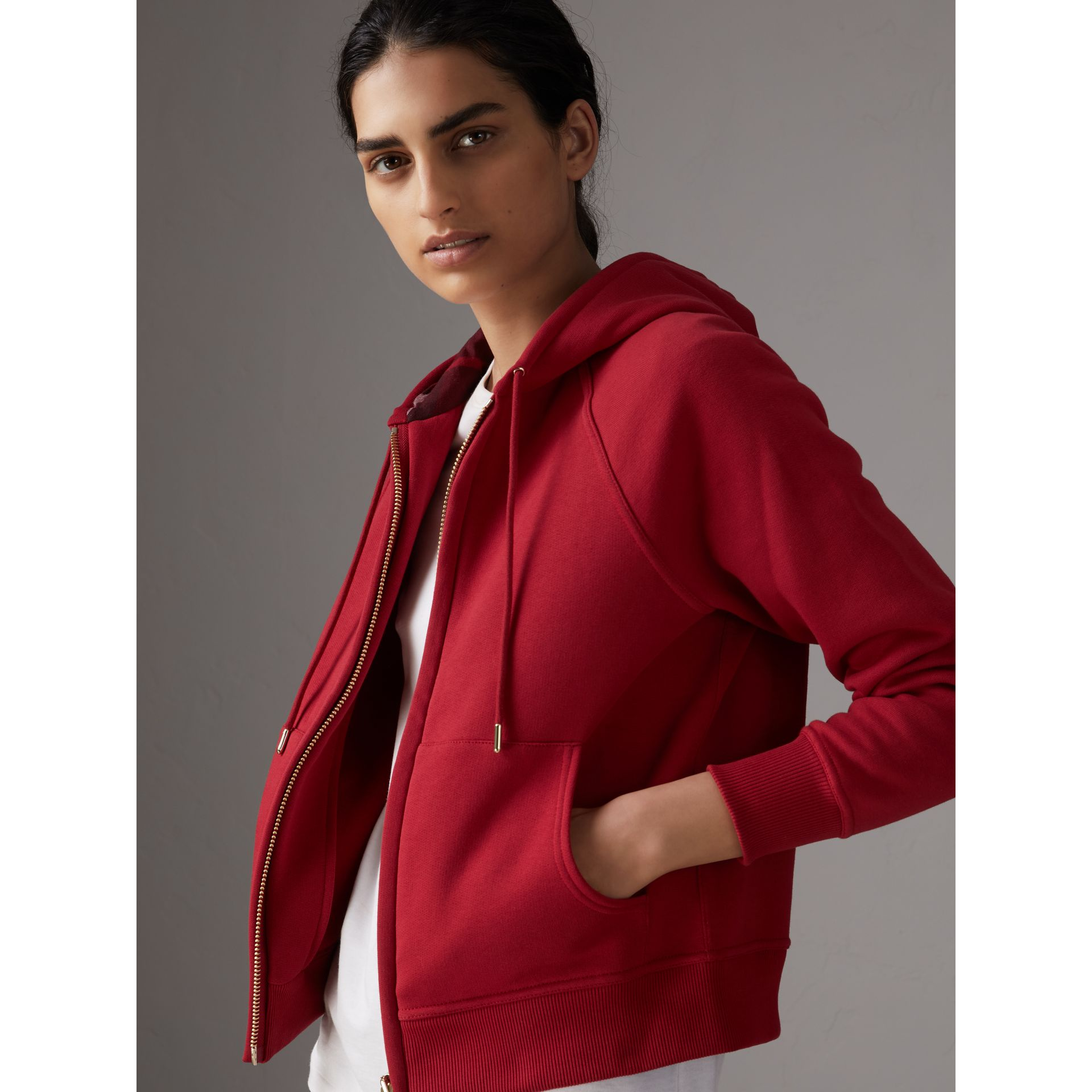 Hooded Zip-front Cotton Blend Sweatshirt in Parade Red - Women | Burberry United Kingdom - gallery image 0