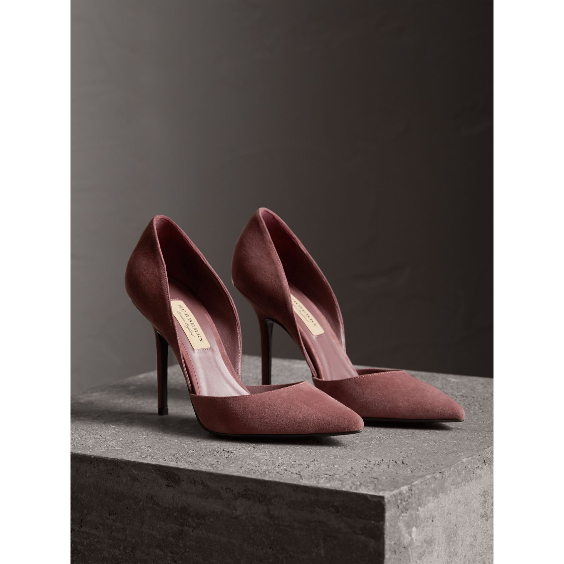 Point-toe Suede D'Orsay Pumps in Taupe Rose - Women | Burberry - gallery image 5