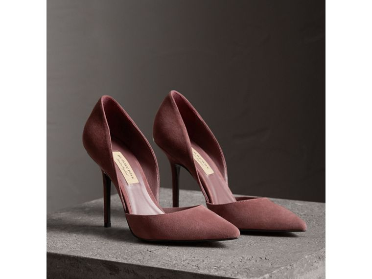 Point-toe Suede D'Orsay Pumps in Taupe Rose - Women | Burberry United Kingdom - cell image 4