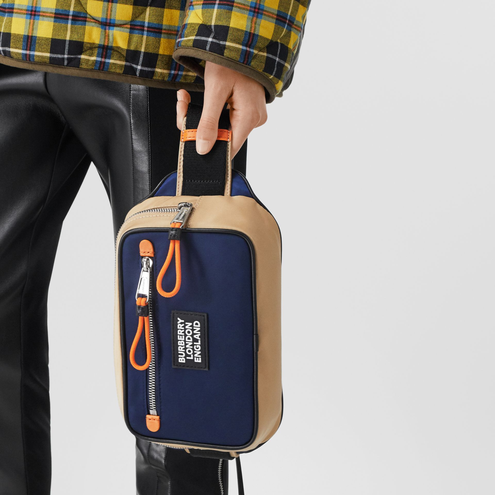 Logo Appliqué Two-tone ECONYL® Bum Bag in Regency Blue/bright Orange | Burberry United Kingdom - gallery image 10
