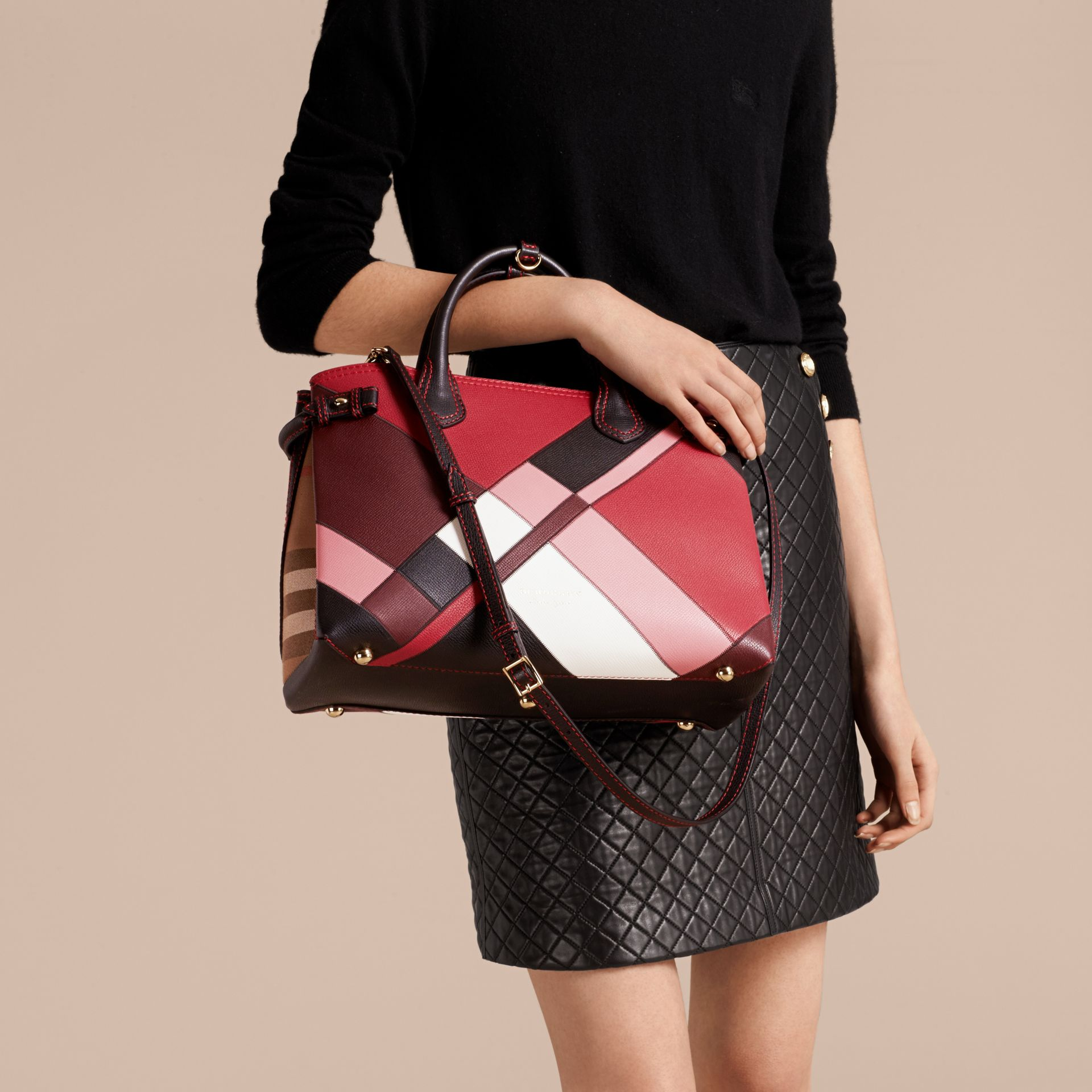 The Medium Banner in Colour Block Leather in Pink - Women | Burberry Canada - gallery image 2