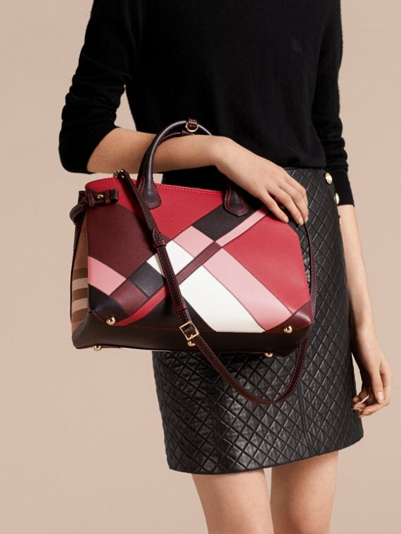 The Medium Banner in Colour Block Leather in Pink - Women | Burberry Canada - cell image 2