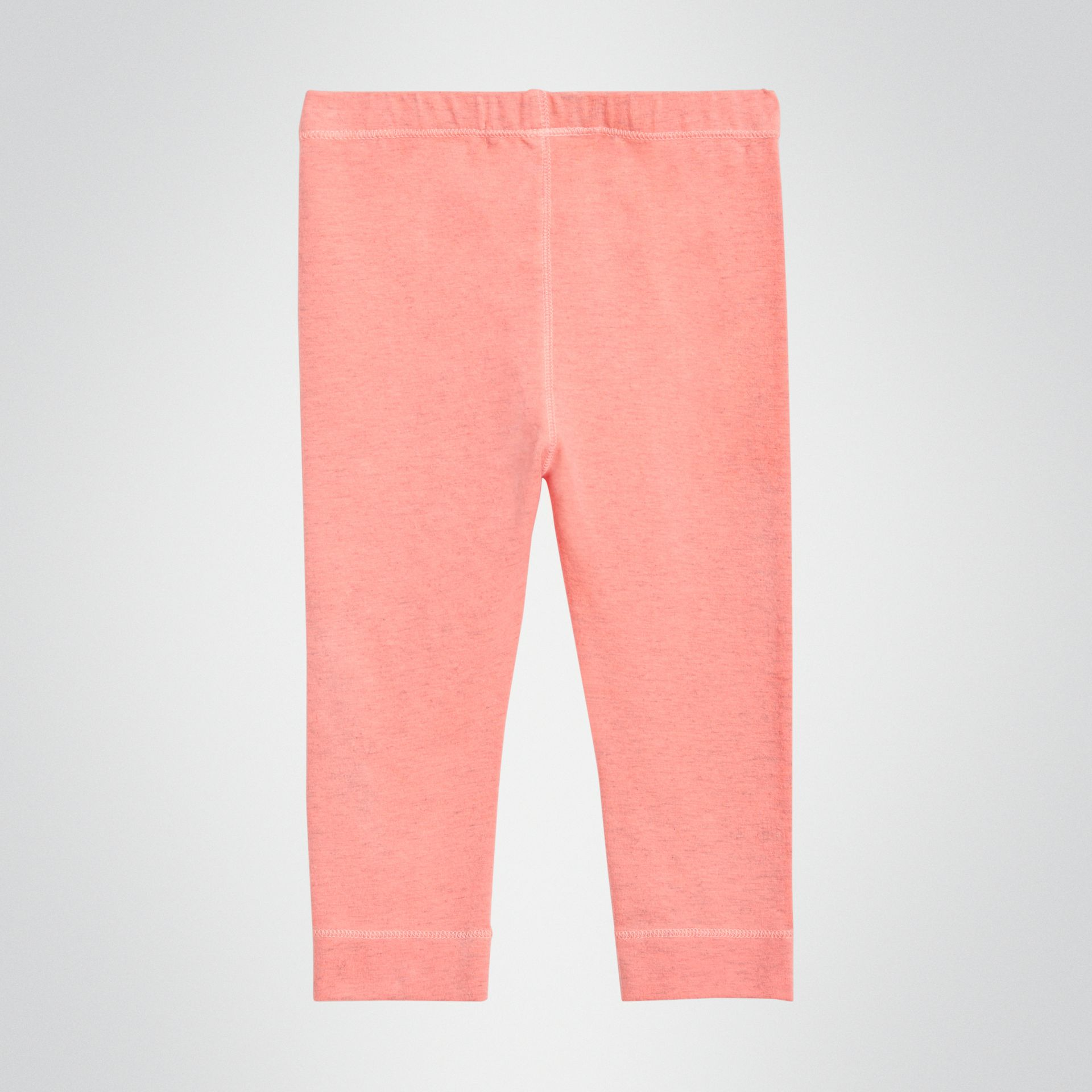 Logo Print Stretch Cotton Leggings in Pale Pink - Children | Burberry - gallery image 3