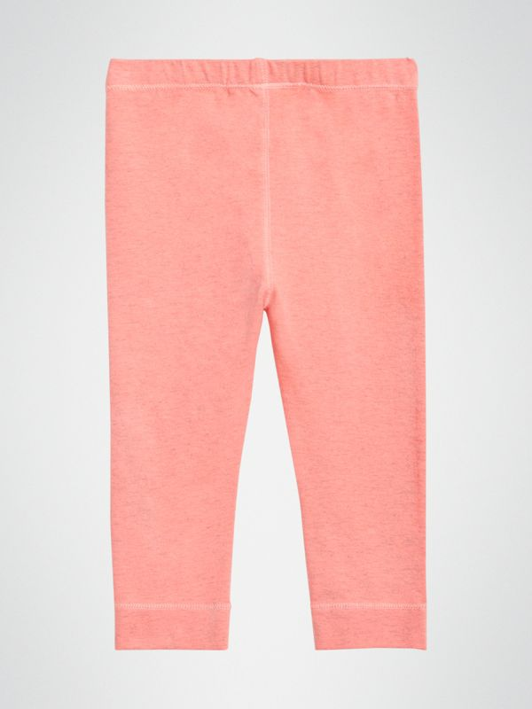 Logo Print Stretch Cotton Leggings in Pale Pink - Children | Burberry Singapore - cell image 3