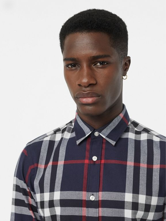 Check Cotton Flannel Shirt in Navy - Men | Burberry Australia - cell image 1