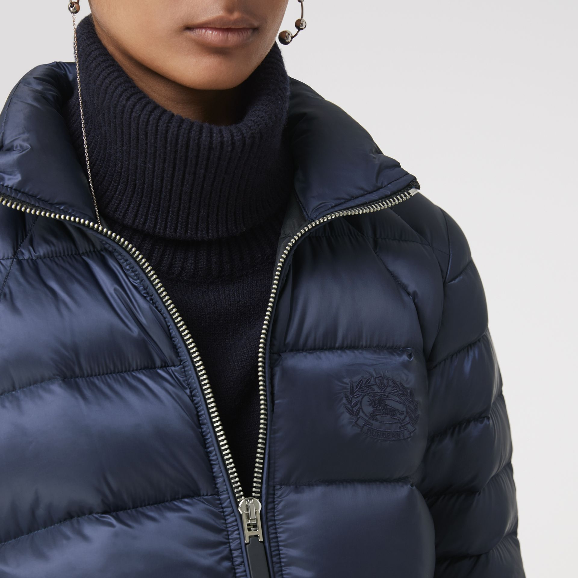 Down-filled Puffer Jacket in Navy - Women | Burberry United Kingdom - gallery image 3