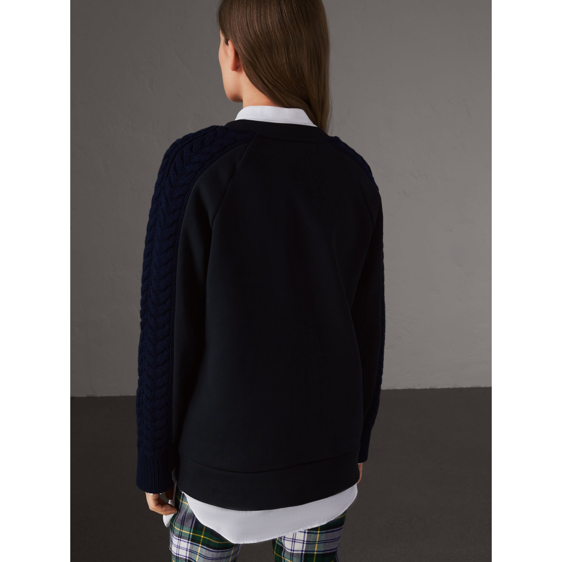 Cable and Fair Isle Knit Detail Cotton Sweatshirt in Navy - Women | Burberry Canada - gallery image 3