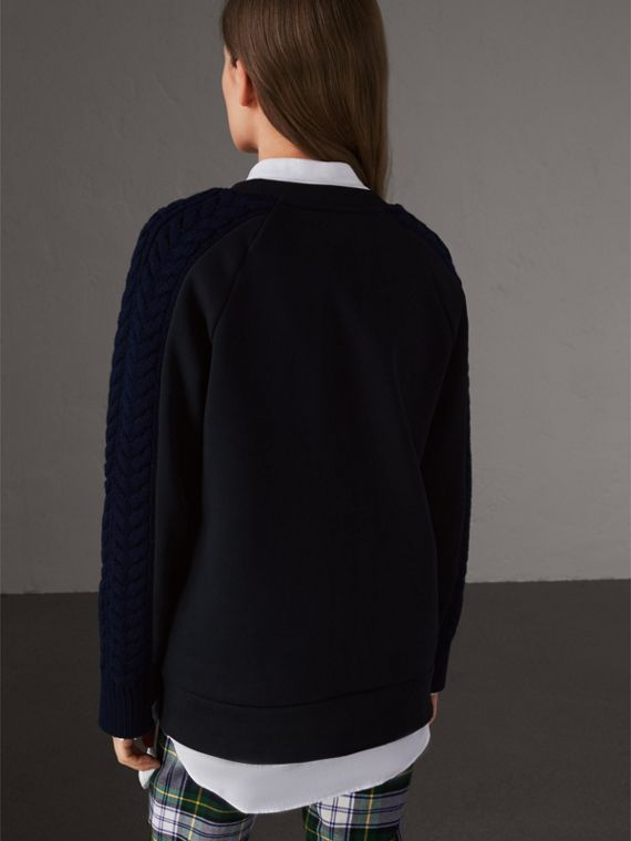 Cable and Fair Isle Knit Detail Cotton Sweatshirt in Navy - Women | Burberry - cell image 2