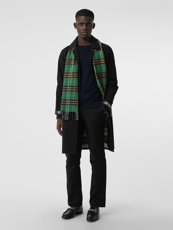 Check Cashmere Scarf in Forest Green | Burberry - cell image 3