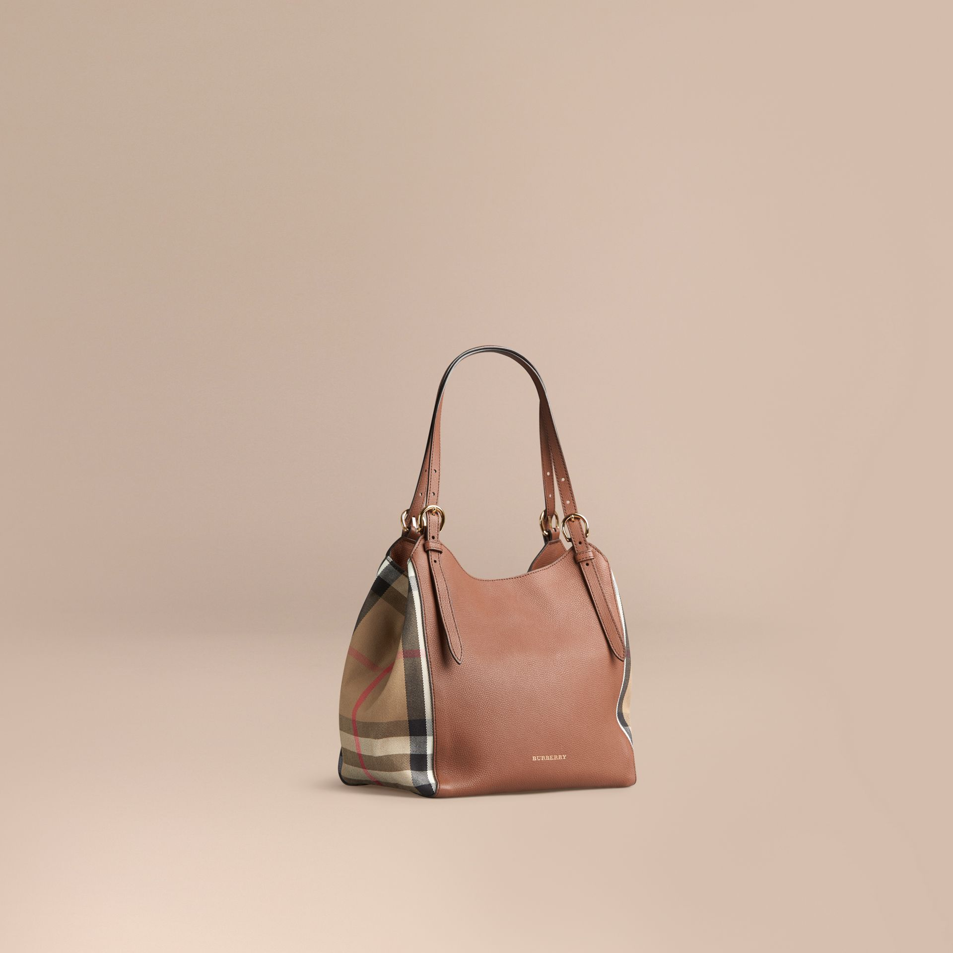 The Small Canter in Leather and House Check in Tan - gallery image 1