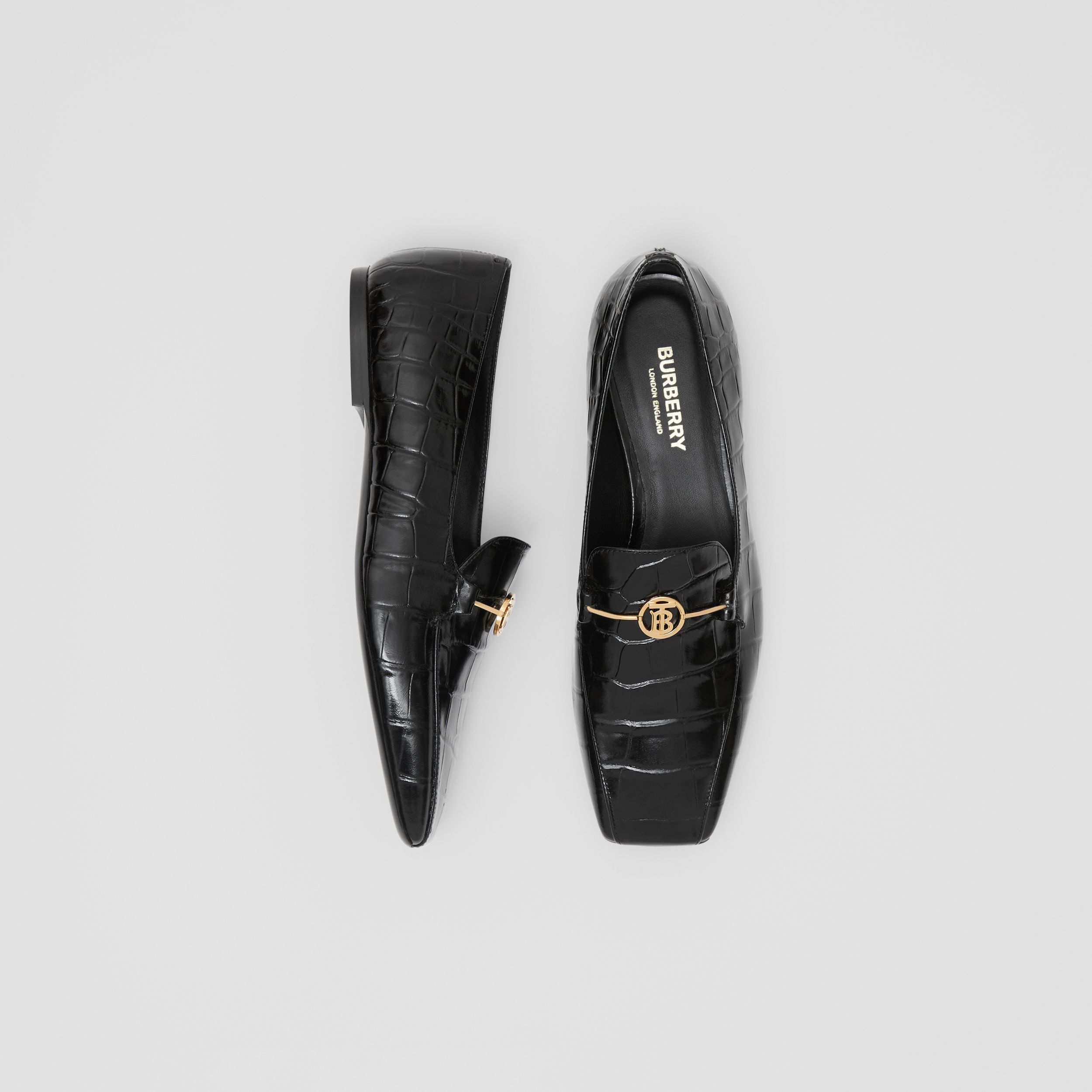 Monogram Motif Embossed Leather Loafers in Black - Women | Burberry - 1