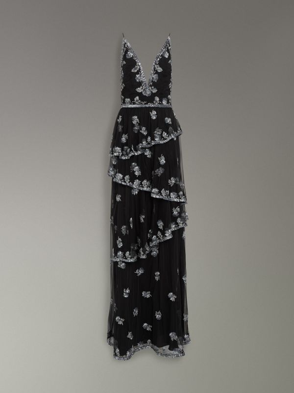 Hand-beaded Open-back Dress in Silver - Women | Burberry Singapore - cell image 3