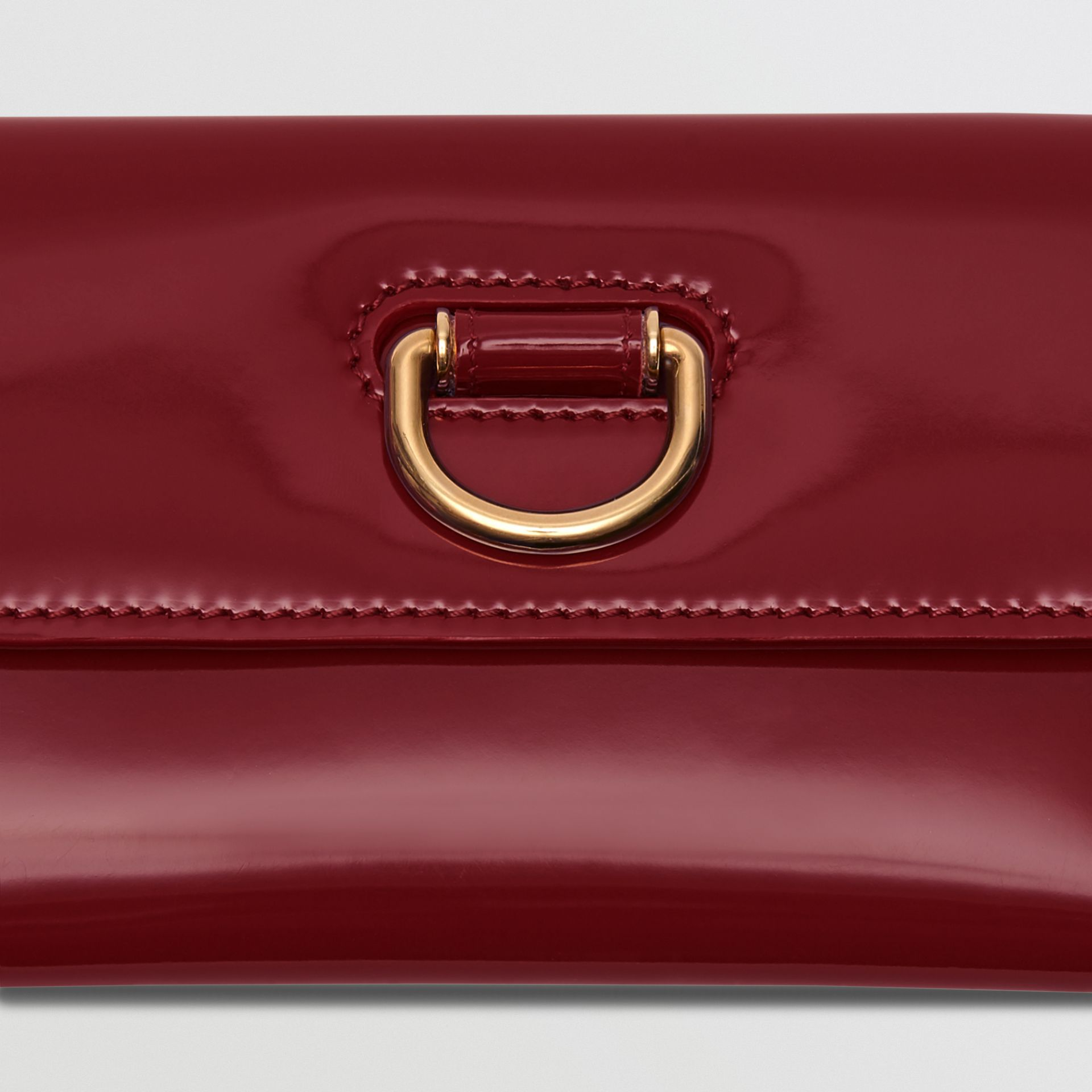 D-ring Patent Leather Continental Wallet in Crimson - Women | Burberry - gallery image 1