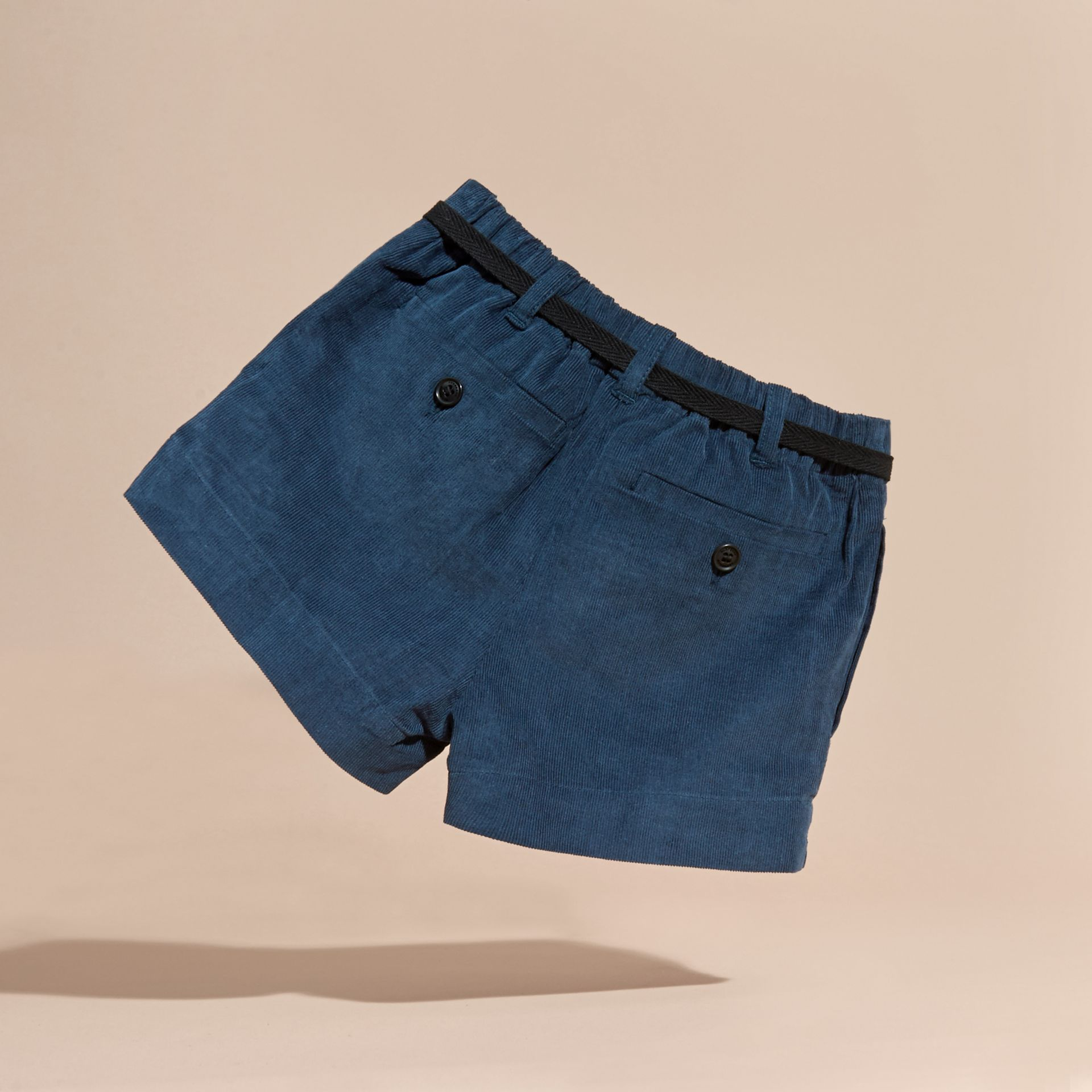 Deep teal blue Belted Corduroy Shorts - gallery image 4