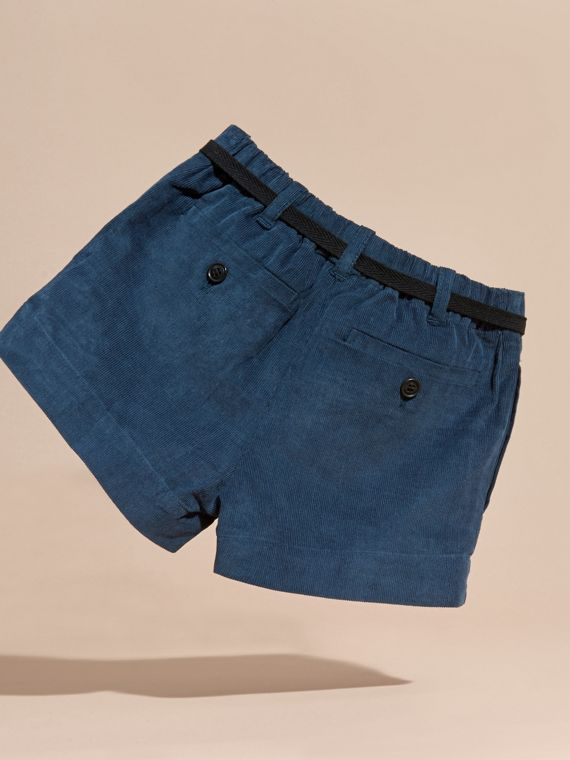 Deep teal blue Belted Corduroy Shorts - cell image 3
