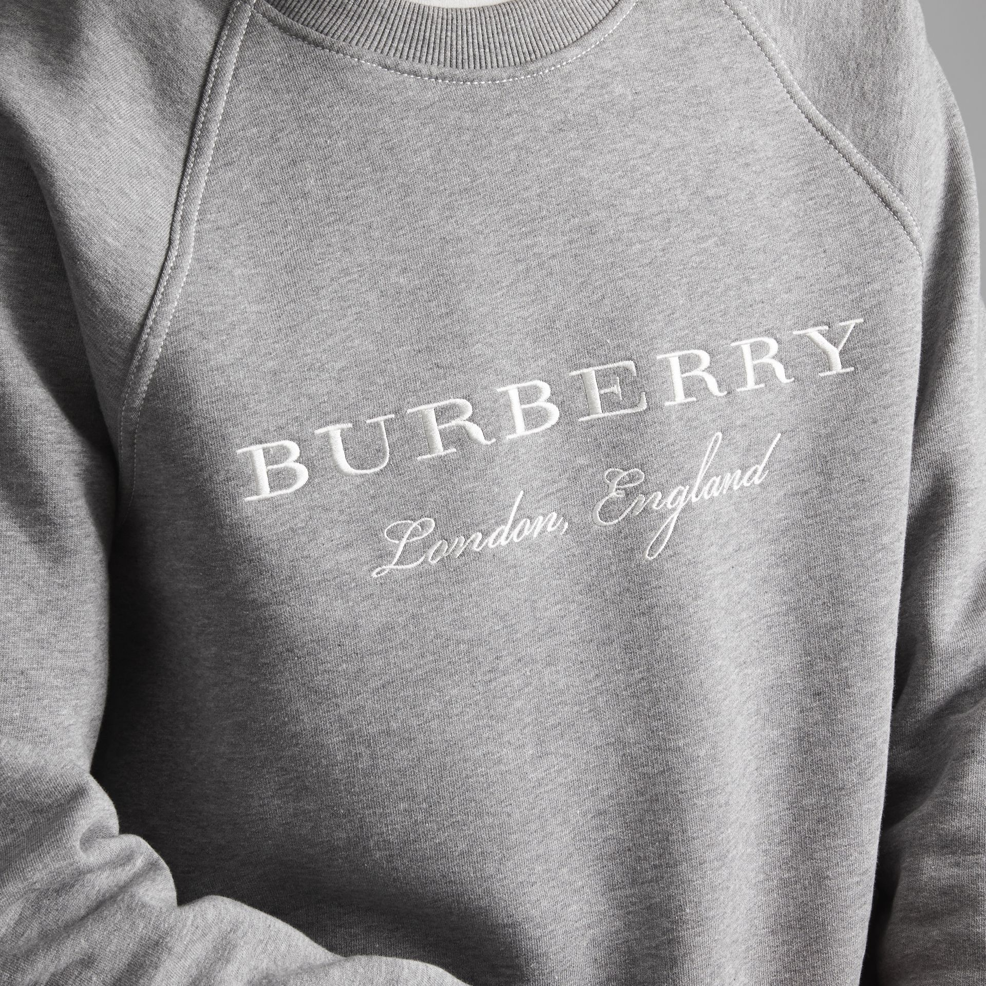 Embroidered Jersey Sweatshirt in Pale Grey Melange - Men | Burberry - gallery image 4