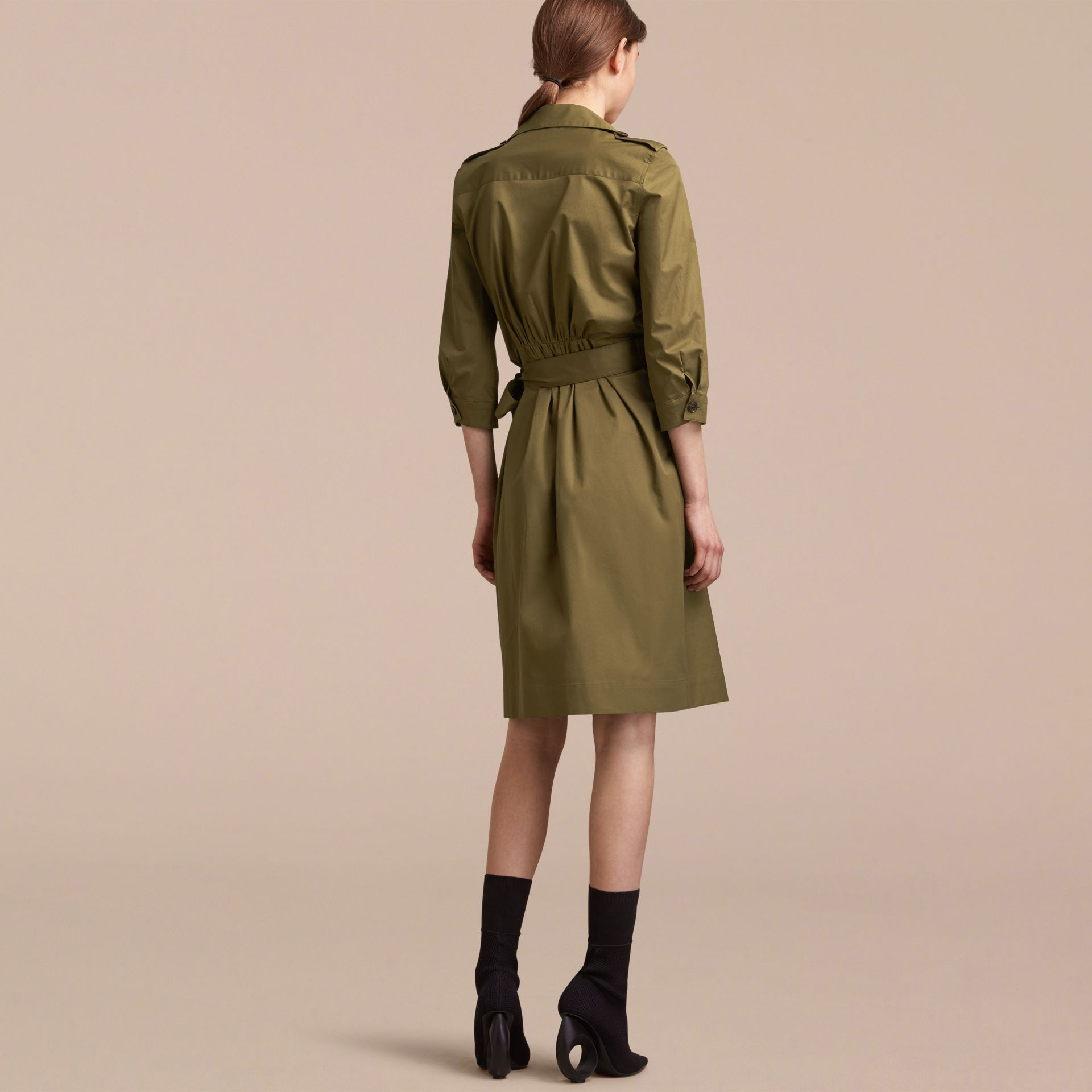 Oversize Lapel Stretch Cotton Trench Dress - gallery image 3