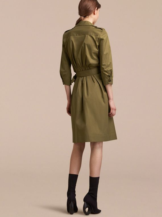 Oversize Lapel Stretch Cotton Trench Dress - cell image 2